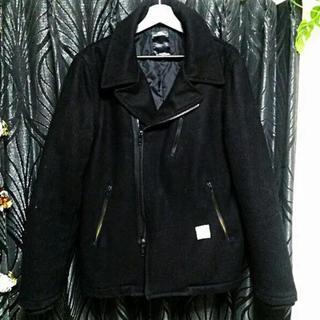 アズールバイマウジー(AZUL by moussy)のAZULbymoussyメルトンライダーススタイルPコートジャケット黒L新品(ライダースジャケット)