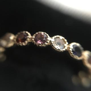 bizoux スノーホワイト & タンザナイト 指輪 重ね付け2本 k10(リング(指輪))