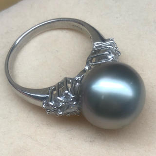 0.64ct pt900 パール ダイヤモンド リング 真珠(リング(指輪))