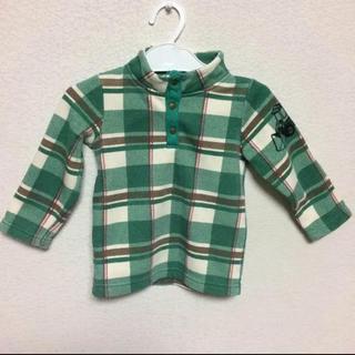 ベビー子供服 トップスチャック柄首元あったかトレーナー 90サイズ(Tシャツ/カットソー)
