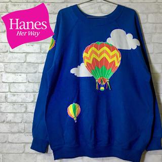 ヘインズ(Hanes)の【Hanes Her Way】ヘインズ クルースウェット  気球 装飾 /XL(トレーナー/スウェット)