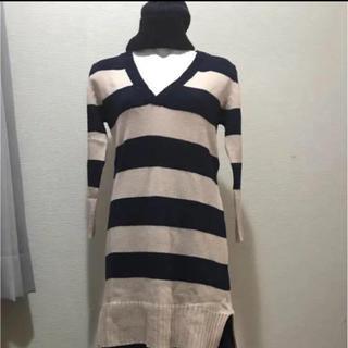 エイチアンドエム(H&M)の新品未使用 H&M ボーダー柄ロング ニット セーター ワンピース風 S〜M(ニット/セーター)