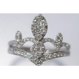 K18 WG ダイヤモンド 0.82ct リング ティアラ 指輪 透かし(リング(指輪))
