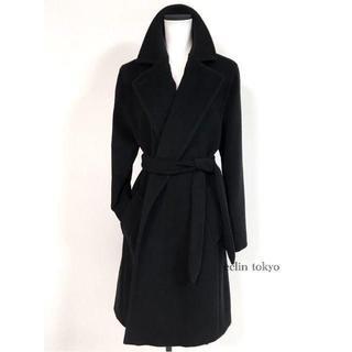 マックスマーラ(Max Mara)のマックスマーラ マヌエラ型 ベルテッド コート アンゴラ 黒 ブラック E949(ロングコート)