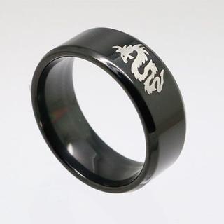 龍ステンレスリング ブラック 17号 新品 クリックポスト送料無料(リング(指輪))