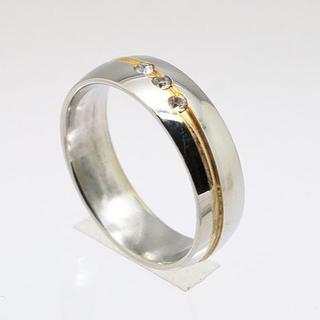 斜めゴールドラインラインストーンステンレスリング 20号 新品(リング(指輪))