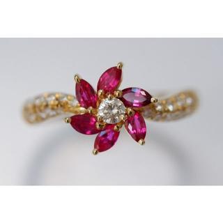 K18 SUWA ルビー ダイヤモンド リング 諏訪貿易 スワ 10号 指輪 (リング(指輪))