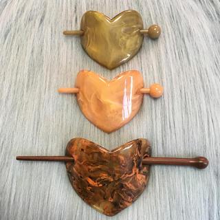 ロキエ(Lochie)のヴィンテージ ハートのマーブルかんざし 各種(バレッタ/ヘアクリップ)