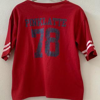 ピンクラテ(PINK-latte)のピンクラテ袖ライン入り半袖Tシャツ(レッド)(Tシャツ(半袖/袖なし))
