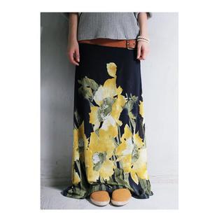 アンティカ(antiqua)のantiqua アンティカ リブ ロングスカート 花柄 ネイビーベース(ロングスカート)