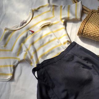 ロキエ(Lochie)の美品 アンティーク ボーダーペールイエロー マリン Tシャツ(Tシャツ(半袖/袖なし))