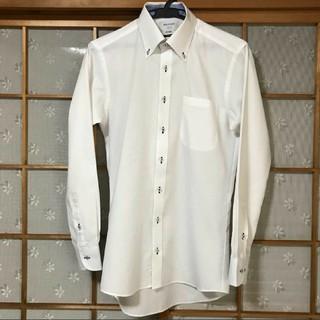 オリヒカ(ORIHICA)のORIHIKA  長袖シャツ 白ストライプ ボタンダウン メンズS 37-82(シャツ)