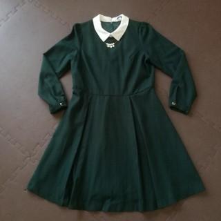 THE EMPORIUM - THE EMPORIUM 未使用 首飾り付きワンピース M 緑 長袖 格子柄