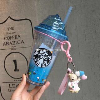 スターバックスコーヒー(Starbucks Coffee)のストラップ付!台湾スターバックス ベアリスタ ストロータンブラー グリッター(キャラクターグッズ)