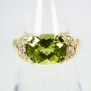 K18 ペリドット ダイヤモンド リング 10号[g152-9] (リング(指輪))