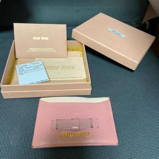 ミュウミュウ(miumiu)のmiumiu パスケース リボン(パスケース/IDカードホルダー)