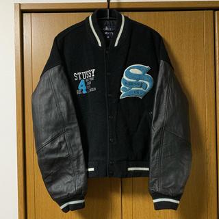 STUSSY - STUSSY BIG4 90s  袖レザー ツアースタジャン