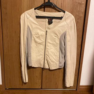 ダブルスタンダードクロージング(DOUBLE STANDARD CLOTHING)のダブルスタンダードクロージングレザジャケット薄いベージュ38(レザージャケット)