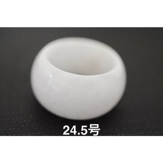 特売9-115 24.5号 板指 天然 A貨 グレー 翡翠 リング 硬玉(リング(指輪))