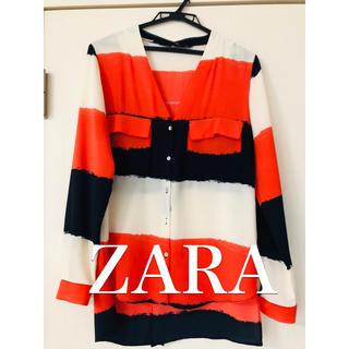 ザラ(ZARA)のZARA 美品 オレンジシャツ(シャツ/ブラウス(長袖/七分))
