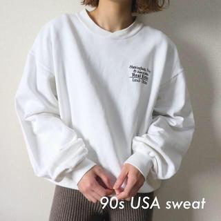 サンタモニカ(Santa Monica)の90s USA製 刺繍 企業ロゴ スウェット トレーナー 白 古着(トレーナー/スウェット)