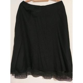 フェリシモ(FELISSIMO)のフェリシモ 裾レースフレアスカート ブラック(ひざ丈スカート)