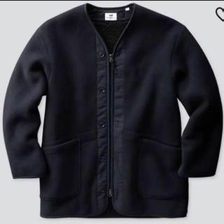 エンジニアードガーメンツ(Engineered Garments)のユニクロ エンジニアド ガーメンツ  フリースノーカラーコート 紺色 Mサイズ(ノーカラージャケット)
