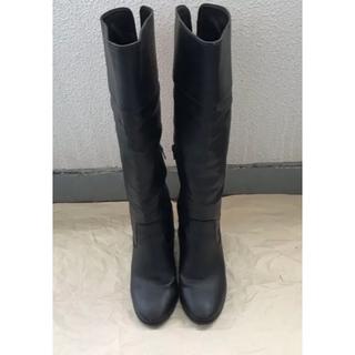 インデックス(INDEX)のindex ロングブーツ 黒 ブラック 24.5㎝(ブーツ)
