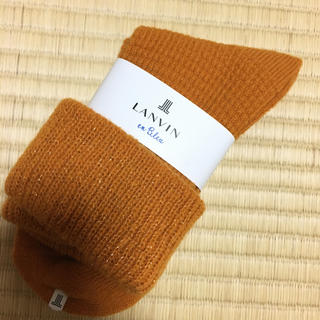 ランバンオンブルー(LANVIN en Bleu)の新品タグ付き ランバン オンブルー  靴下  無地  オレンジ(ソックス)