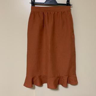 オレンジ 膝丈タイトスカート(ひざ丈スカート)