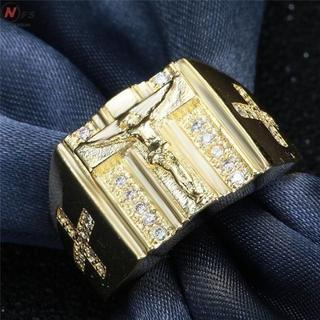 イエスキリスト クロス 十字架 リング 指輪 18号 ゴールド(リング(指輪))