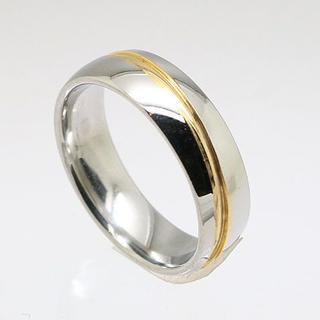 斜めゴールドラインステンレスリング 11号 新品 クリックポスト送料無料(リング(指輪))