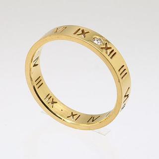 切抜きローマ数字ラインストーンステンレスリング ゴールド 18号 新品(リング(指輪))