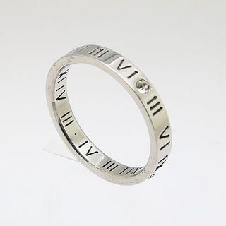 切抜きローマ数字ラインストーンステンレスリング シルバー 18号 新品(リング(指輪))