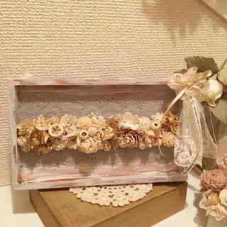 盛り盛り木ノ実のフレームアレンジ♡ホワイト&ブルー(インテリア雑貨)
