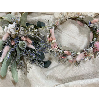 記念日を彩るドライフラワーのミニブーケ&花冠 pink beige ver.(ドライフラワー)