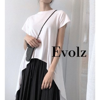 アンティカ(antiqua)のホワイト ロングテール カットソー Tシャツ(Tシャツ(半袖/袖なし))