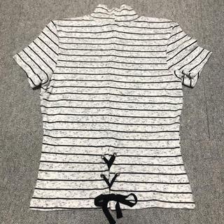 ベルシュカ(Bershka)の新品♡ベルシュカ ミドルネックTシャツ ボーダー伸縮 M 編み上げ (Tシャツ(半袖/袖なし))