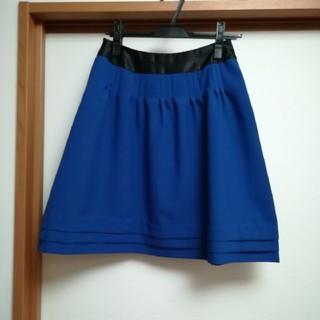 未使用 フレアー スカート W61 ブルー バイカラー (ミニスカート)