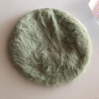 アクシーズファム(axes femme)の定価2090円 ロゴプレート付アンゴラベレー ミント アクシーズファム (ハンチング/ベレー帽)