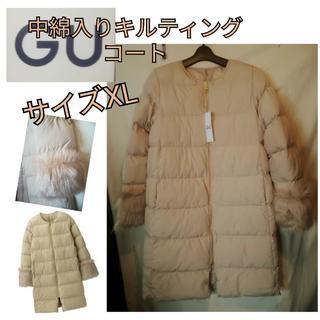 GU - ノーカラーコート 中綿入り GU ベージュ サイズXL