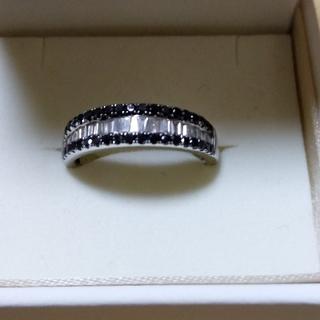 K18WGブラックダイヤ&ダイヤ リングBLD約0.33ct D0.25ct(リング(指輪))