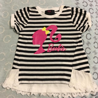バービー(Barbie)のバービー 子供 半袖 Tシャツ カットソー  レース ボーダー 95 女の子(Tシャツ/カットソー)