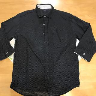 トップスシャツ7部袖、黒に白水玉(シャツ)