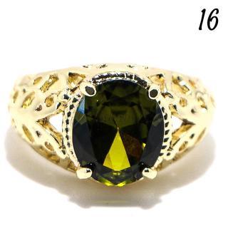 G9 リング 16号 人工石 ペリドット ゴールドフィルド クール(リング(指輪))