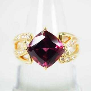 K18 天然ロードライトガーネット ダイヤモンド リング 18号[g153-5](リング(指輪))