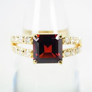 K18 天然ロードライトガーネット ダイヤモンド リング 14号[g153-6](リング(指輪))
