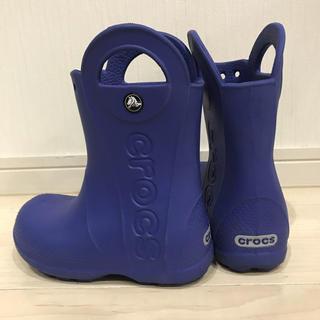 クロックス(crocs)のクロックス長靴⭐︎ブルー⭐︎中古⭐︎17.5センチc10⭐︎送料無料(長靴/レインシューズ)