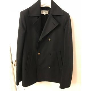 マルタンマルジェラ(Maison Martin Margiela)の美品 Maison Margiela マルジェラ Pコート ブラック 46(ピーコート)