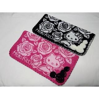 サンリオ - 新品 キティ ピンク&ブラック ラメ バラ タオルハンカチ 2枚セット 匿名配送